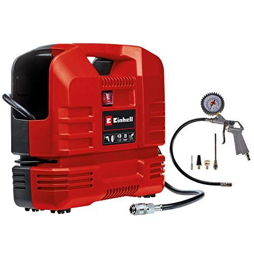 Einhell Kompressor TC-AC 190 OF Set (1100 W, 190 L/min Ansaugleistung, ölfreier Motor, max. 8 bar, inkl. Ausblaspistole, Reifenfüllmesser, 3 m Schlauch,3-tlg. Adapter-Set)