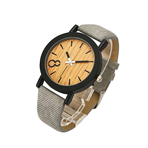 CXSM Reloj de imitación de Grano de Madera para Hombres y Mujeres, Relojes de Cuero Casuales Simples, Relojes Unisex, Reloj de Pulsera Deportivo de Cuarzo, Gris