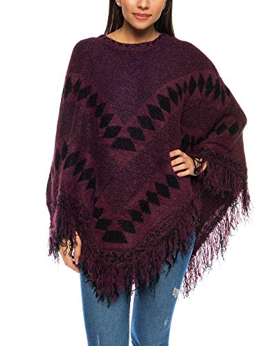Crazy Age Knuffelige, zachte warme poncho, hoogwaardige cape voor dames, omhangdoek en tuniek met mouwen