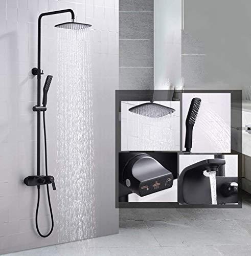 XUSHEN-HU Chrome Baño Ducha sistema establece latón Grifos Negro ducha de mano ducha de lluvia Monte Square pared de la ducha vaporizador Cascada de ducha Mezclador de ducha (Color: Negro) Bañera