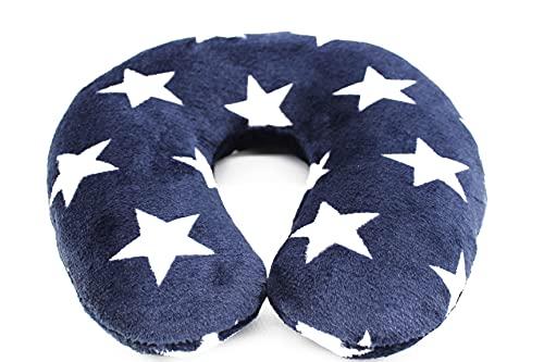 Kamaca Almohada cervical con funda de franela suave, 260 g/m², uso universal, apoyo y práctico para viajes (estrellas Navy)