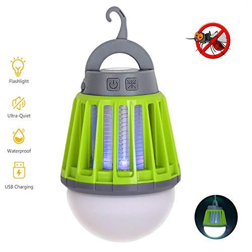 Lampada Antizanzare da Esterno &Interno, 2-in-1 Anti-zanzara Campeggio Portatile LuceTenda, IPX6 Impermeabile Lanterna Campeggio USB Ricaricabile con 3 Luminosità della Luce per Trekking, Campeggio