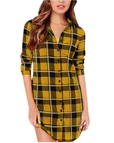 ZANZEA Langarmshirt Damen Oversize Hemd Bluse Kariert Oberteile Button Down Asymmetrisch Tunika Tops Gelb-FA47021 EU44