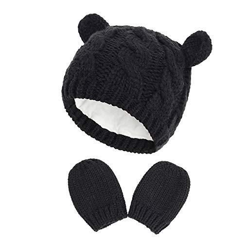 Fynnsure 赤ちゃん 帽子 ベビー 帽子 冬 かわいい耳 ベビー 手袋 0-18ヶ月 綿 無地 耳保護付き ベビーニットハット 秋 ブラック M (3-6 ヶ月)
