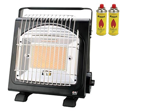 NJ-H1 Portable Gas Heater Camping Stove Butane Outdoor 1.7kW Auto Ignition Canisters (Gas Heater + 2 canisters)