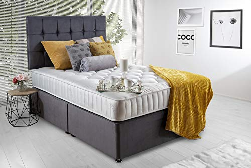 Revive Direct Grey Plush Velvet Divan Bed Set Includes Memory Foam Mattress and Cubed Buttoned Headboard - (4ft6 Double - 4 Drawers)
