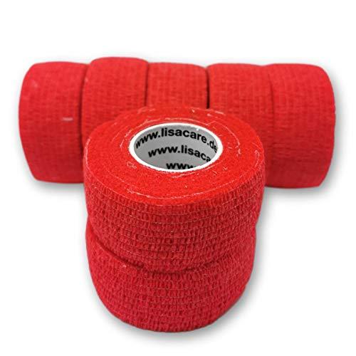Bunter Mix 7 Stück LisaCare Pflasterverband, Fingerpflaster, Rollenpflaster, elastische Pflaster Kinderpflaster ohne Kleber und latexfrei (Rot)