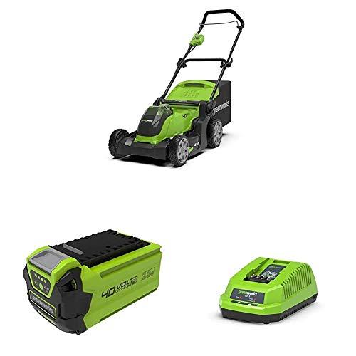 Greenworks Cortacésped operado con batería G40LM41 + 2 x Batería G40B2 2ª generación + Cargador de baterías