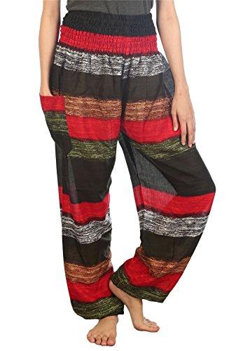 Lofbaz Mujer Colorido 2 Smocked Cintura Harén Pantalones Earth Size M