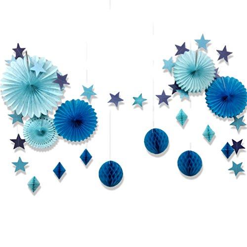 SUNBEAUTY Decoration Bapteme Garcon Bleu Guirlande Etoile Papier Chambre Bebe Decoration Rosace Papier Baby Shower Mariage Anniversaire Deco Kit