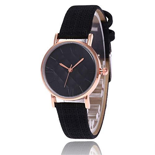 SANDA Relojes De Pulsera,Cinturón de Malla de aleación Reloj Reloj de Cuarzo Simple y versátil-Negro Mujer
