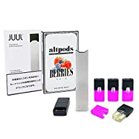 電子タバコ JUUL正規品+altpods 互換POD スターターキット VAPE (Silver(シルバー), BERRIES(ベリーズ))