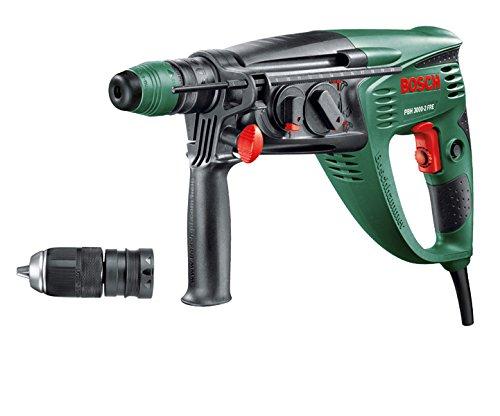 Bosch Bohrhammer PBH 3000-2 FRE (SDS Bohrfutter, Flachmeißel, Tiefenanschlag, Zusatzhandgriff, Koffer, 750 Watt)+Bosch Meißel-Set SDS-plus 3tlg. (Beton, Mauerwerk, für leichte Bohr- und Schlaghämmer)