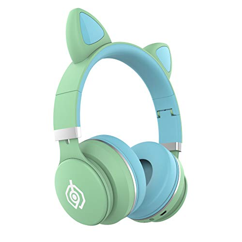 Cat Ear Headphones On-Ear Wireless Stereo Kids Headset for School Bluetooth 5.0 Foldable Headphones with Mic/LED Light/FM Radio/TF Card/AUX in Compatible with Smartphones PC Tablet