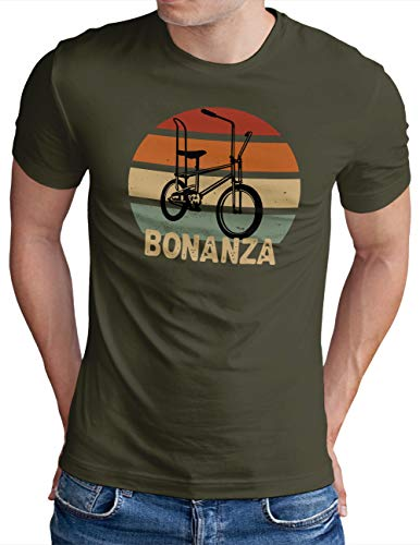 OM3® Bonanza Fahrrad T-Shirt   Herren   Retro Vintage Rad Bonanzarad IV   Oliv, M