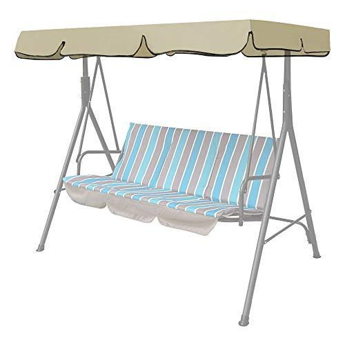 Iraza Ersatzdach Gartenschaukel Schaukelstuhl Hängematte Bezug Universal Hollywoodschaukel 3 Sitzer UV Ersatz Bezug Sonnendach Schaukel Sand (195 * 125 * 14cm, Beige)