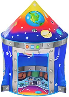 Rocket Ship Kids Play Tent | Unique Space and Planet Design Tent for Boys and Girls | Indoor and Outdoor Imaginative Activ...