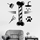 HGFDHG Calcomanía de Pared para el Aseo de Mascotas, salón de Aseo de Animales, Tienda de Mascotas, decoración de Interiores, Vinilo, Ventana, Pegatina de Vidrio, Mural artístico