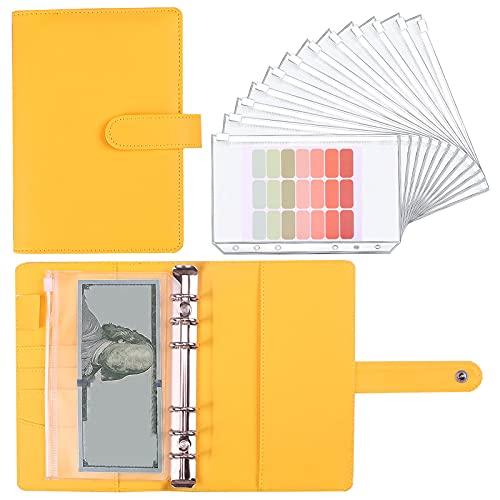 Cuaderno de notas de piel sintética de PVC, 6 agujeros, hojas sueltas para facturas, dinero en efectivo, sellos, tarjetas de visita, tarjetas de crédito, etc. (amarillo)