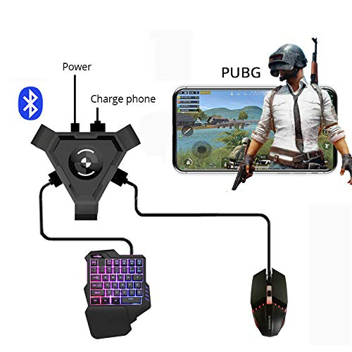 Wiouy PUBG Mobile Gamepad Controller Gaming Tastatur Maus Konverter für Android Handy zu PC Bluetooth Adapter, Konverter + Maus und Tastatur Set, One size