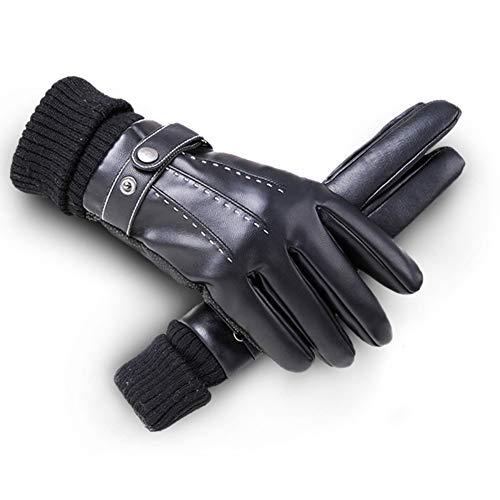 Liuwenju heren handschoenen van leer met touch screen winter, voering van warme wol, Giro voor Vento en Fredd, Sci, Rankhandschoen (Neri)
