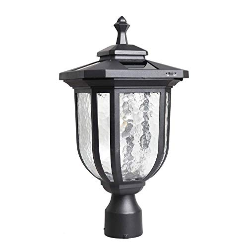 KMC LIGHTING ST4322Q-A Solar Post Light Solar Powered Lamp Post Light Post Solar Light Outdoor Fabulously Bright 120 LUMENS Made of Aluminum die-Casting and Glass with 3 inches Post Adaptor