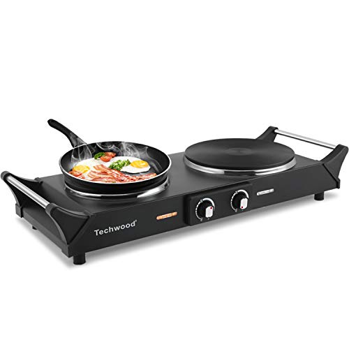 """Techwood 1800W Hot Plate Portable Electric Stove Countertop Double Burner with Adjustable Temperature & Stay Cool Handles, 7.5"""" Cooktop for RV/Home/Camp, Compatible for All Cookwares"""