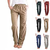 zitan Women's Regular Fit Straight Leg Linen Pant Wide Leg Pant Summer Casual Pants Drawstring Long Pants with Pocket Khaki