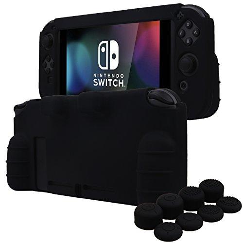 YoRHa HANDGRIFF Silikon Hülle Abdeckungs Haut Kasten für Nintendo Switch x 1 (schwarz) Mit Joy-Con aufsätze thumb grips x 8