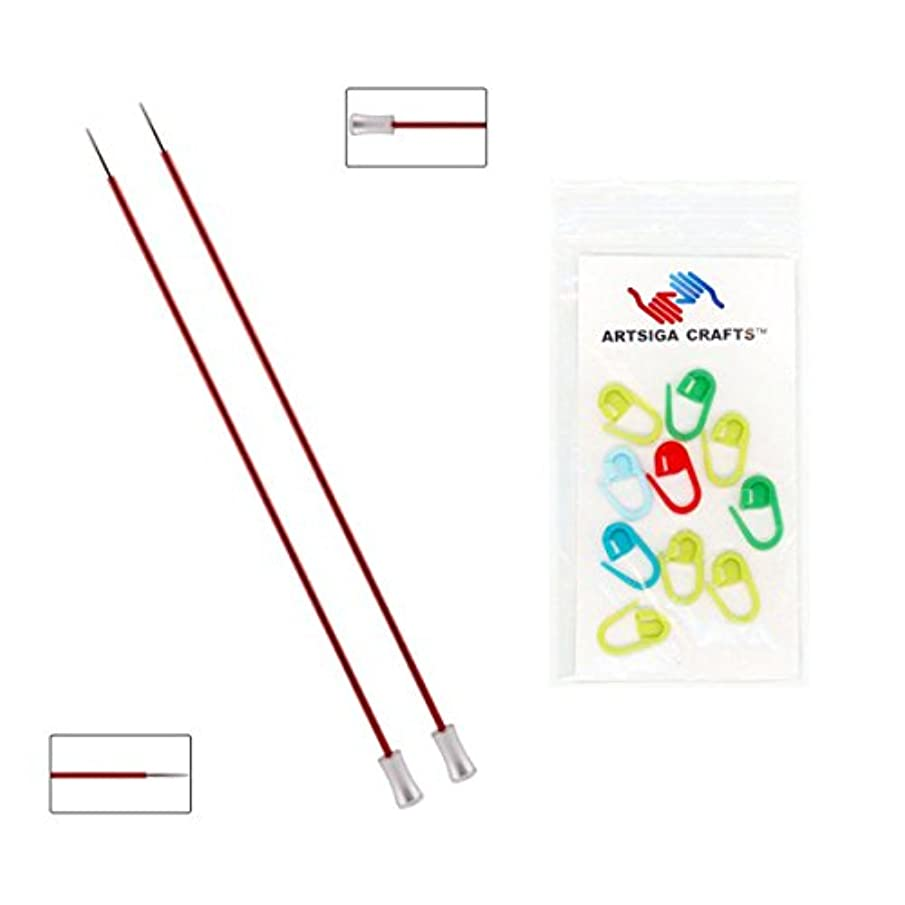 Knitter's Pride Zing Single Pointed Knitting Needles 10in. Size US 1.5 (2.5mm) Bundle with 10 Artsiga Crafts Stitch Markers 140243