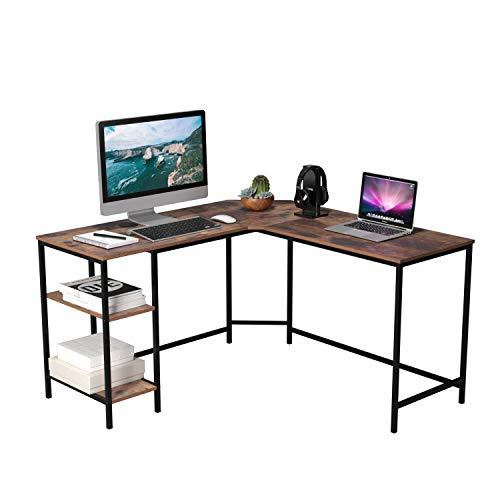 Homfa Schreibtisch Computertisch Ecktisch PC Tisch Bürotisch mit 2 Ablagen für Gaming Büro L-Form Groß Vintage 135x135x75.5cm