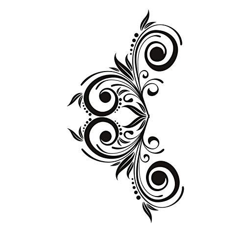 ASFGA Adesivo murale Elegante smontabile Bianco PVC pianta turbinio Decorazione della casa Decalcomania scolpita sul Muro Vicino alle Scale Soggiorno Camera da Letto 44 cm x 76 cm
