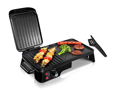 Machine à sandwich et plaque chauffante 2 en 1 Panini Press Grill, revêtement antiadhésif, contrôle de la température, plateau d'huile, plateau d'égouttement amovible de comptoir 1500W - NutriChef