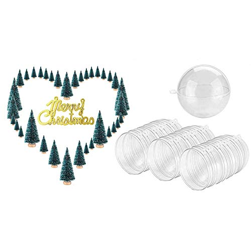 Dcolor 1SET Sisal Snow Frosted Trees Pine Bottlebrush Trees & 30 Balls/Batch DIY 70mm Christmas Tree Hanging Ball