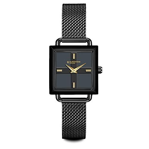 Glanzstücke München Damen Uhr analog Japan Quarzwerk mit Edelstahl schwarz Armband 10130008