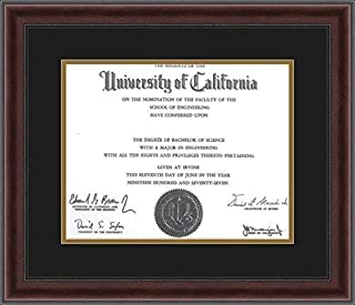 ArtToFrames Diploma Frame Mahogany and Burgundy with Beaded Lip with 1-11x14 Opening, Double-Multimat-726-89/596-N9590