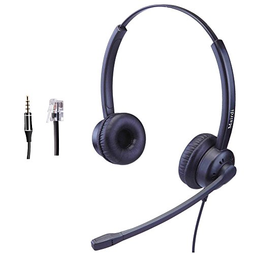 Büro-Headset mit Mikrofon mit Geräuschunterdrückung, Duo Call-Center-Handy-Headset mit RJ9-Stecker & 3,5-mm-Anschluss für Festnetztelefon, PC, Laptop, geeignet für Polycom Avaya Nortel Aastra