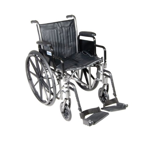 Drive Medical Silver Sport 2 Wheelchair with Various Arms Styles and Front Rigging Options Black 20 Inch