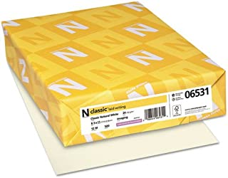Neenah Paper 06531 CLASSIC Laid Writing Paper, 24lb, 8 1/2 x 11, Natural White, 500 Sheets