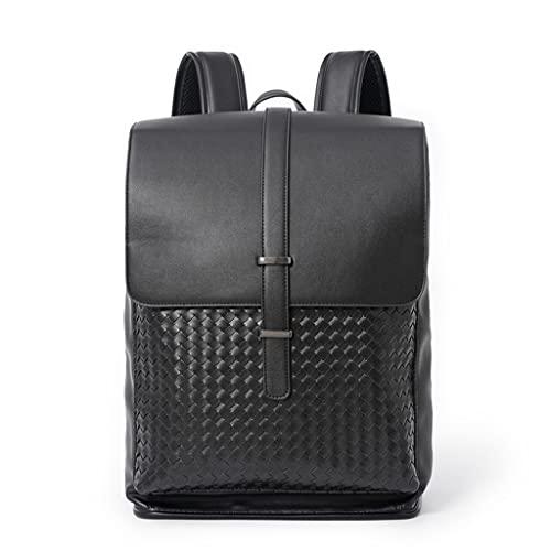 WQXD Vintage Hombres PU Mochila de Cuero de PU 13 Pulgadas Laptop Bolso Bolso Bolso Rucksack Casual Fin de Semana Viaje Escuela universitaria Daypack Negro (Color : Black, tamaño : One Size)