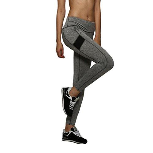 Tongshi Mujeres corrientes de los deportes pantalones apretados de yoga de la gimnasia de secado rápido de las polainas de la aptitud Pantalones (Gris, M)