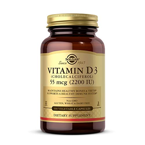 Solgar Vitamin D3 (Cholecalciferol) 2200 IU (55 µg) Vegetable Capsules - Pack of 100