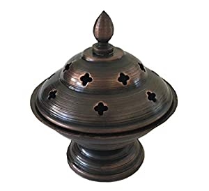 "Iron Pot Incense Burner/Smudge Pot/Wicca Ritual Offering Bowl-3.25"" D x 3.5"" H-BB125"