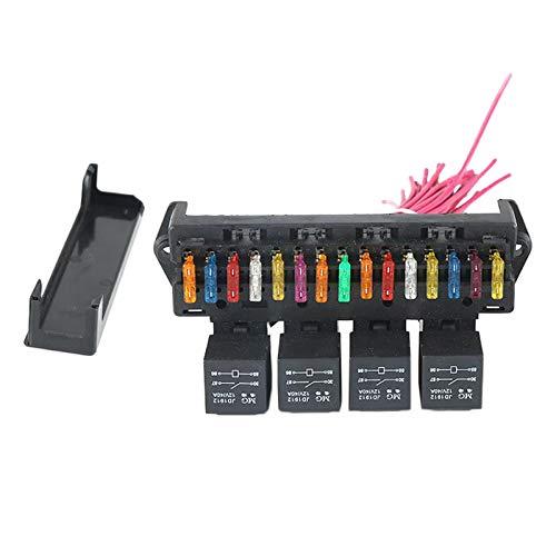 Nobranded Caja de fusibles de 15 vías para Coche, Caja de Control del Soporte del Bloque con arnés de Cables del zócalo del relé, Resistencia a la fusión
