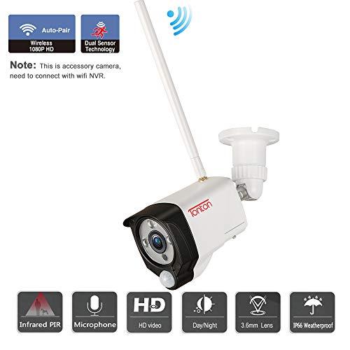Tonton Full HD 1080P Funk Überwachungskamera 2.0MP WLAN Kamera für Tonton NVR System, 3,6mm Linse, 20M Klare Nachsicht PIR Sensor Metallgehäuse Zwei-Wege-Audio (Verwendet als Ersatzkamera/IP Camera)