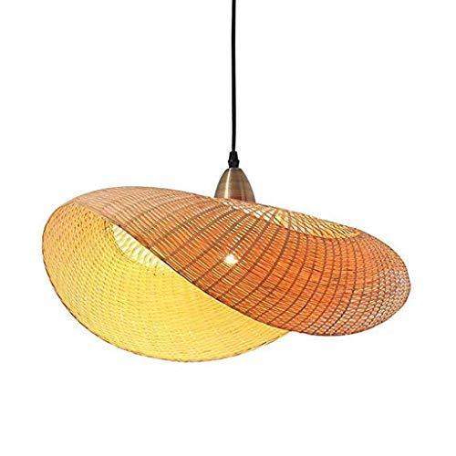 Lámpara colgante de bambú Lámpara colgante vintage creativa Araña E27 transición fácil Tela de mano Sala de estar ajustable Restaurante Lámparas de estudio Decoración colgante Cafe Bar