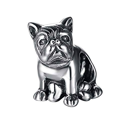 Sitting French Bulldog Dog 925 Sterling Silver Charm Bead for Pandora & Similar Charm Bracelets or Necklaces