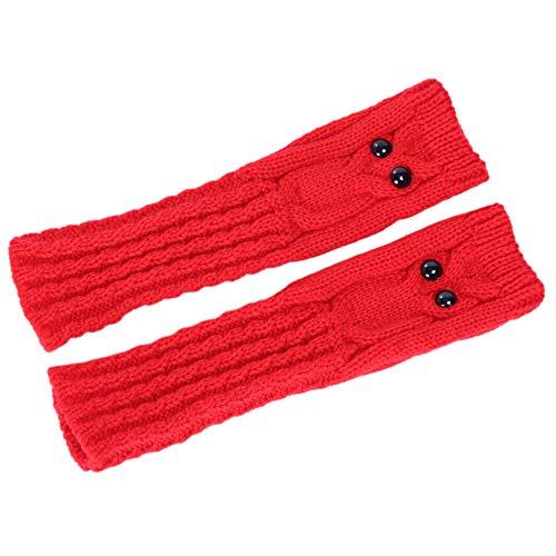 Asudaro Frauen Winter Fausthandschuhe Armstulpen Arm wärmer Stricken Fingerlose Handschuh Langer Handwärmer Stulpen Fäustlinge Halbfingerhandschuhe Handwärmer 25CM