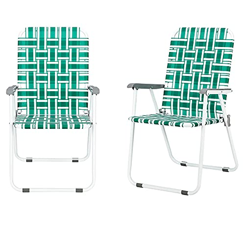 Camping Chairs for Adults Beach Chairs Patio Folding Web Chair Set 2 Pack Outdoor Beach Chair Portable Camping Chair Lawn Chair Support 265 Lbs-2_Chairs_(Light_Green)
