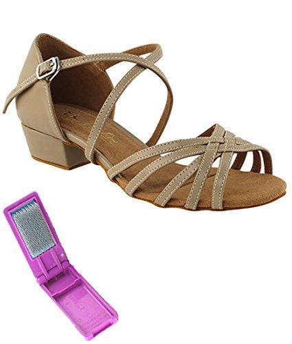 Very Fine Dance Shoes - Ladies Practice  Cuban Low Heel  Waltz  Wedding Dance Shoes - 1670FT - 1-inch Heel and Foldable Brush Bundle - Tan PU - 8.5